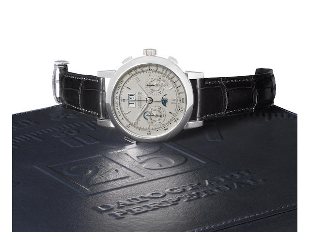 A. Lange & Sohne. A very fine platinum perpetual calendar chronograph wristwatch with moonphases Datograph Perpetual, Ref:410.025E, Case No. 158228, Movement No. 48277, Sold 12th of April 2007