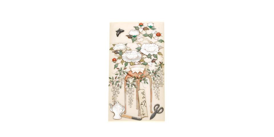 A Meiji period ivory and Shibayama card case, circa 1900,