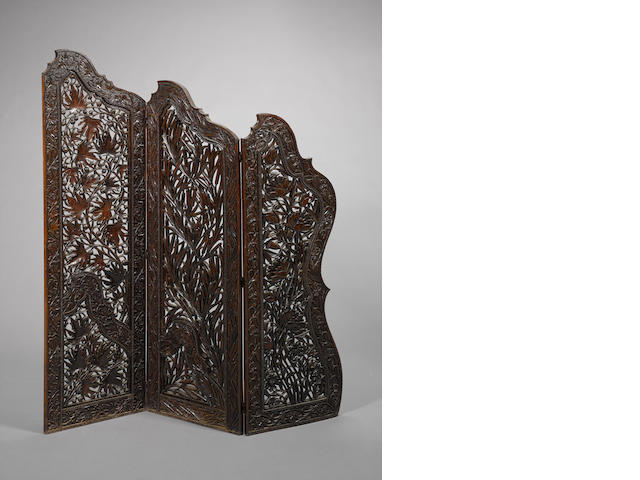 Carved screen, 3 parts