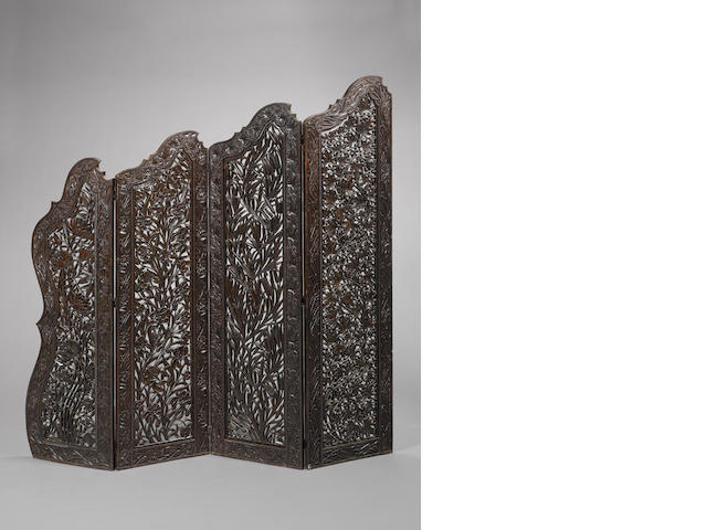 Carved screen, 4 parts