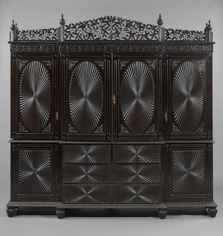 A large Bombay Presidency wood Linen Press Cupboard Western India, circa 1860