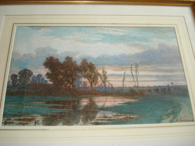 Adrian Van Everdingen, catle being driven home at dusk, watercolour, signed