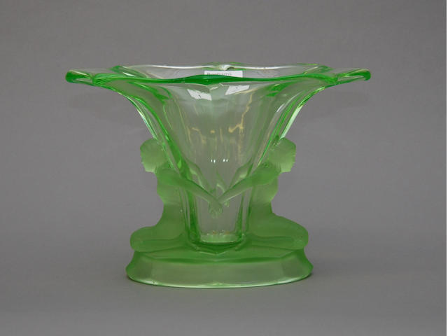 An Art Deco green glass flower vase