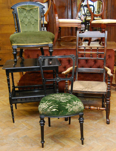 A set of three late Victorian ebonised parlour chairs