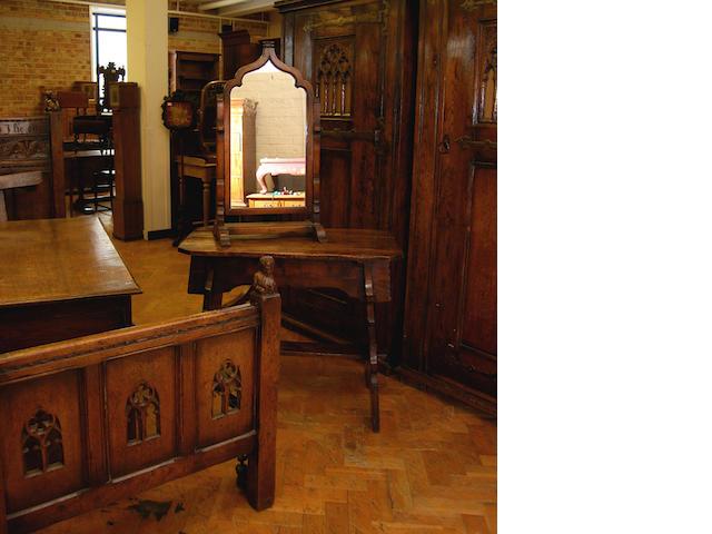 A good Gothic oak bedroom suite, early 20th Century