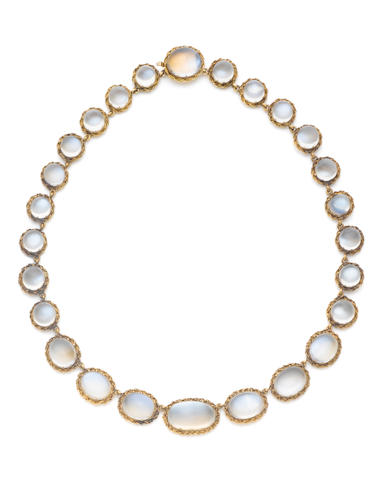 A moonstone necklace, circa 1900