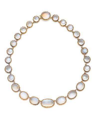 A moonstone necklace, circa 1900