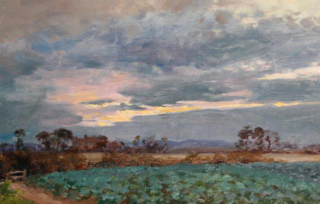 Alfred Parsons (British, 1847-1920) 'A threatening sunset'