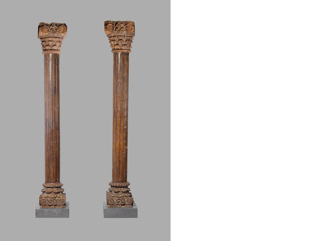 A pair of teakwood Pillars, Western India