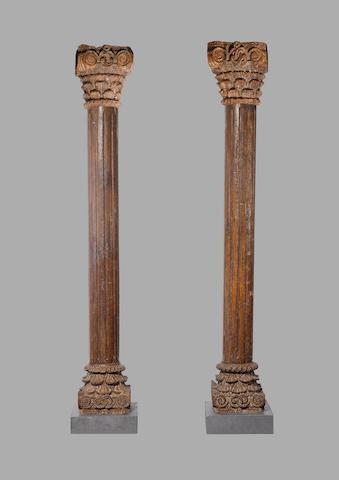 A pair of teakwood Pillars, Western India