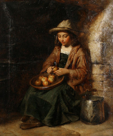 Attributed to Edward John Cobbett (British, 1815-1899) Peeling apples