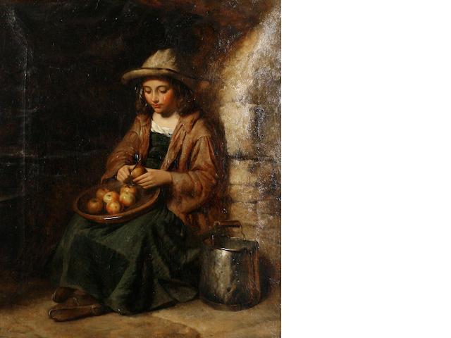 Attributed to Edward John Cobbett (British, 1815-1899) Peeling apples
