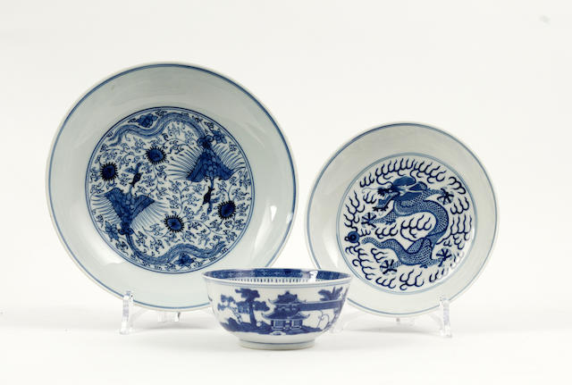 Two blue and white saucer dishes and a blue and white bowl