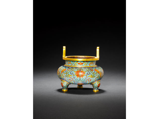 A cloisonné enamel and gilt-bronze tripod censer Qianlong incised five-character mark and of the period