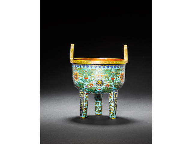A rare cloisonné enamel and gilt-bronze tripod censer Early Qing dynasty