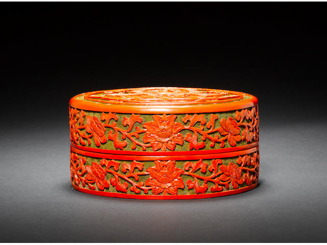 A rare carved cinnabar polychrome lacquer box and cover Qianlong