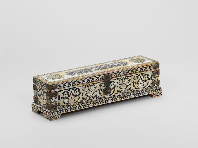 An Ottoman-style mother-of-pearl inlaid wooden Casket