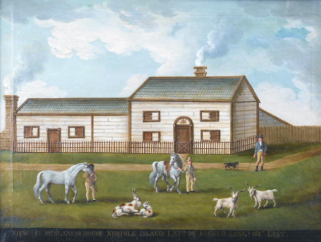 English Naive School, circa 1800 View of Mr Slaney's house on Norfolk Island in the South Pacific