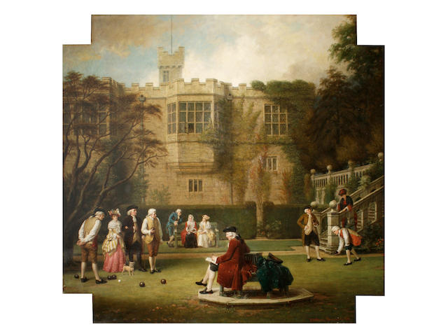 John Watkins Chapman (British, active 1880-1903) Figures playing bowls on the lawn of Haddon Hall