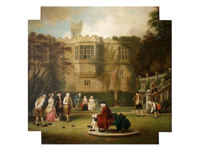 John Watkins Chapman (British, active 1880-1903) Figures playing bowls on the lawn of Haddon Hall