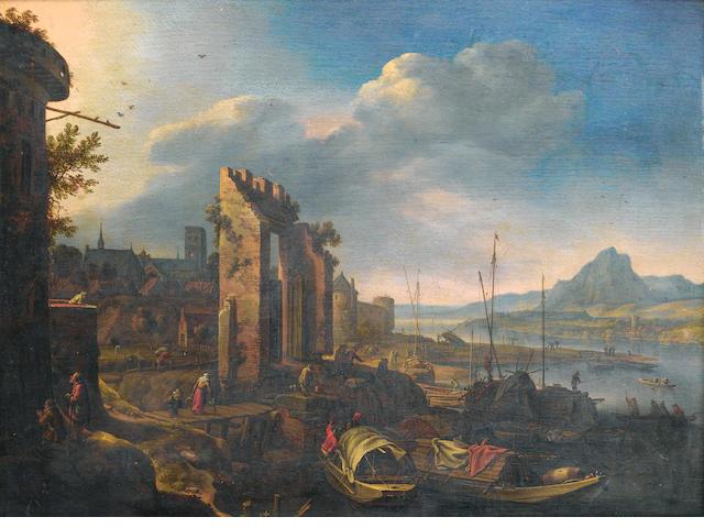 Herman Saftleven (Rotterdam circa 1609-1685 Utrecht) A mountainous river landscape