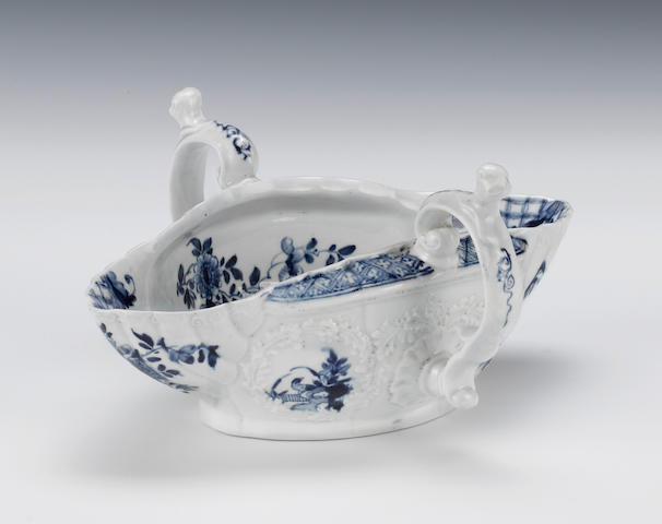 A large Worcester two-handled sauceboat, circa 1755