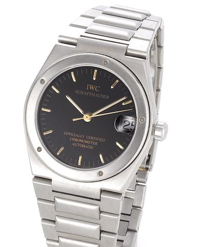 IWC. A stainless steel automatic centre seconds calendar bracelet watch1980's