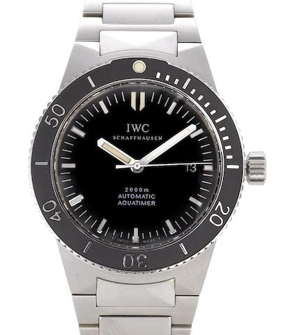 IWC. A stainless steel automatic centre seconds calendar bracelet watch together with box and guarantee papers Aquatimer, Ref:3536, Case No. 2766390, Sold 4th March 2000