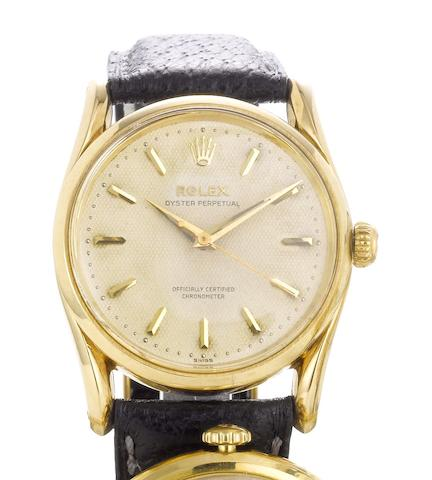 Rolex. A fine 14ct gold automatic wristwatchRef:6590,Bombe, Movement No.574502, 1950's