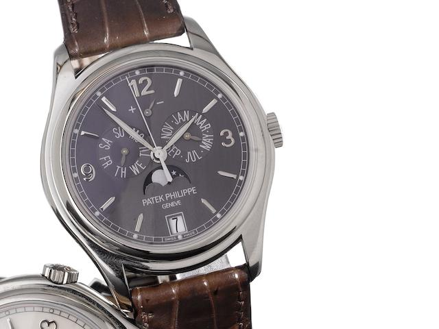 Patek Philippe. A very fine 18ct white gold automatic centre seconds wristwatch with annual calendar, moon phases and 48 hour power reserve, together with Certificate of Origin and fitted wooden box Annual Calendar, Ref:5146G, Case No.4713637, Movement No.3802570, Sold by Wempe, London on the 13th March 2009