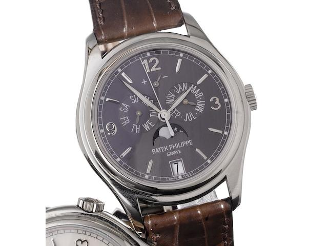 Patek Philippe. A very fine 18ct white gold automatic centre seconds wristwatch with annual calendar, moon phases and 48 hour power reserve, together with Certificate of Origin and fitted wooden boxAnnual Calendar, Ref:5146G, Case No.4713637, Movement No.3802570, Sold by Wempe, London on the 13th March 2009