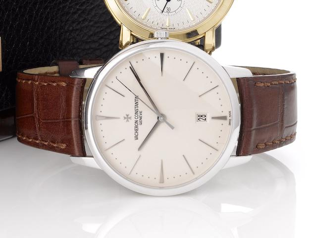 Vacheron Constantin. A fine 18ct white gold automatic centre seconds calendar wristwatchPatrimony Contemporaine, Ref. 81180, Movement No.5146350, Sold by Wempe 23rd May 2008