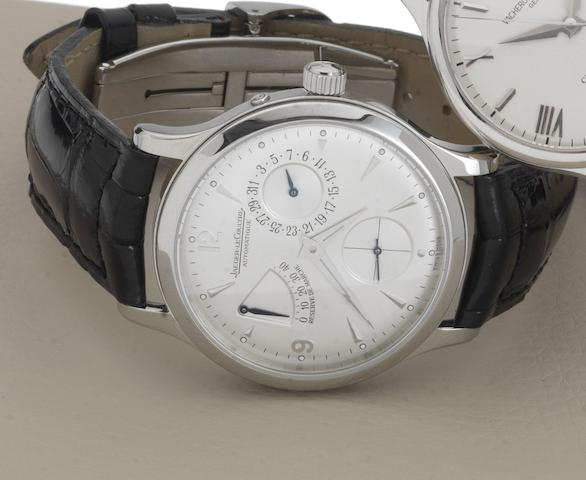 Jaeger Le Coultre. A fine stainless steel automatic calendar wristwatch with power reserveMaster Reserve de Marche, 1488404    No.2405951