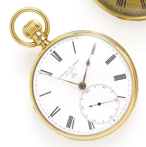 Barraud & Lunds. A fine early 19th century 18ct gold open face pocket watch with unusual removable stem winding keyChester Hallmark for 1888