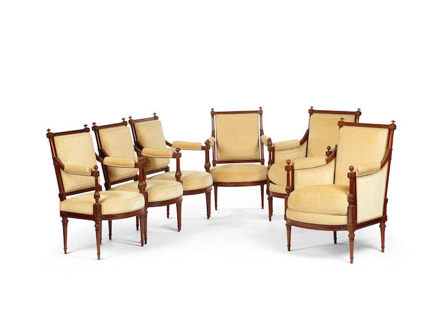 A Fine suite of Louis XVI mahogany armchairs by Georges Jacob, Maître in 1765