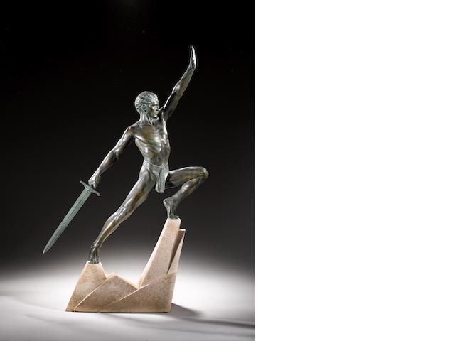 Max Le Verrier  An Art Deco patinated model of a Warrior, circa 1925