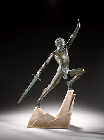 Max Le Verrier  An Art Deco patinated model of a Warrior, circa 1925