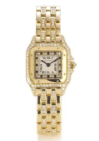Cartier. A lady's fine 18ct gold diamond and sapphire set quartz bracelet watch Panthere, Serial No:805791501967, 1980's