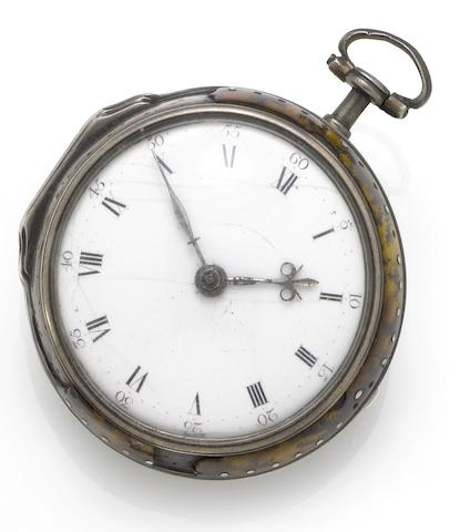 Thomas Tompion. An early 18th century pocket watch in associated silver and painted horn consular caseNumber 2895, Circa 1700