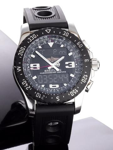 Breitling. A stainless steel quartz calendar chronograph digital display wristwatch Airwolf Raven, Ref. A7836423B911-SVLE, Serial No.1172070, Sold 20th March 2010