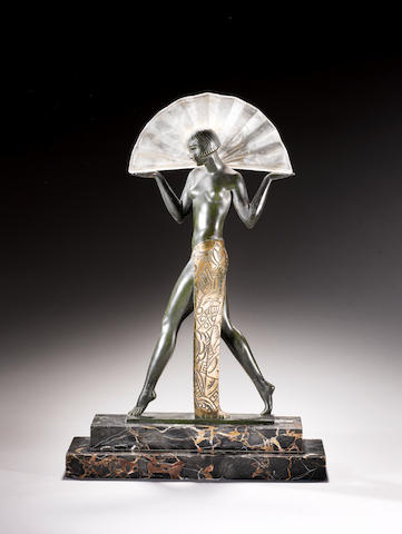 Guerbe (Pierre Le Faguays)  'Espana a L'eventail' a Le Verrier green and gilt patinated art metal Sculptural Lamp, circa 1930