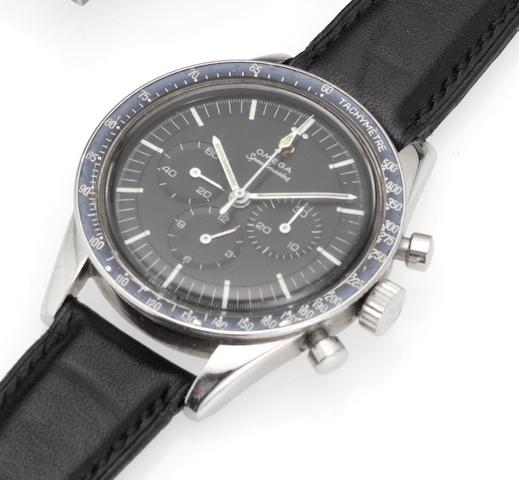 Omega. A stainless steel manual wind chronograph wristwatchSpeedmaster, late 1960's