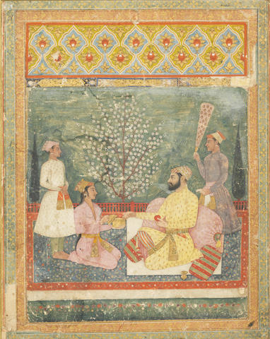 A prince on a terrace with attendants