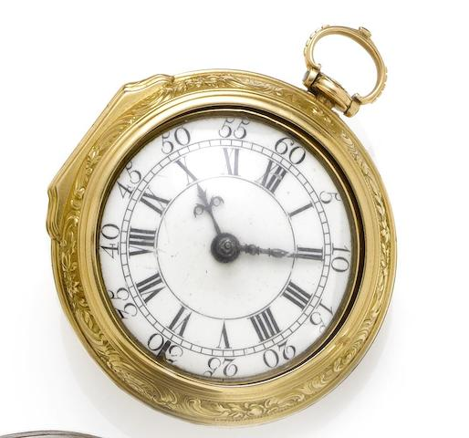 Ellicott. A fine and rare mid 18th century 22ct gold pocket watch Number 4443, London Hallmark for 1757