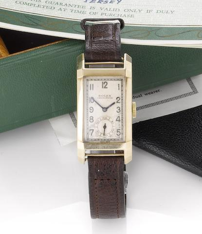 Rolex. A fine 18ct gold curved case rectangular wristwatchRef:3059, Case No.36283, Glasgow Import Mark for 1938