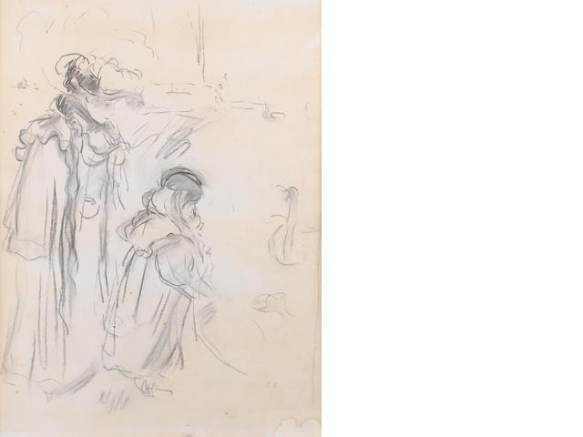 Berthe Morisot (French, 1841-1895) Femme et enfant au bois