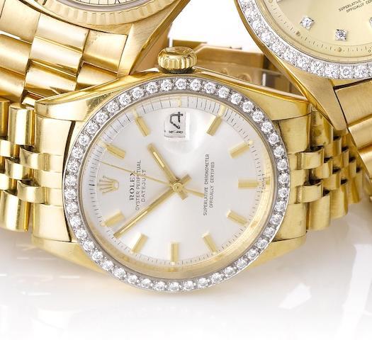 Rolex. An 18ct gold diamond set bracelet watchDatejust, Ref.1601. Serial No. 3126709, Made in 1972