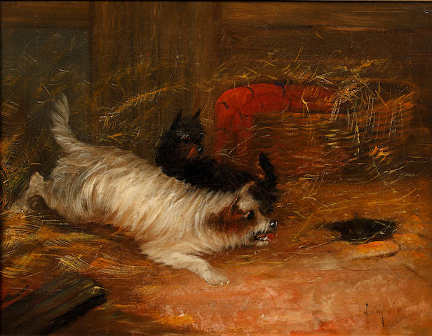 J Langlois (British, 19th Century) Terriers ratting; and another similar