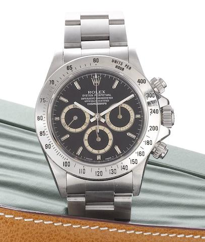 Rolex. A fine stainless steel automatic chronograph bracelet watchDaytona Cosmograph, Ref:16520, Case No.N439150, Sold February 2003
