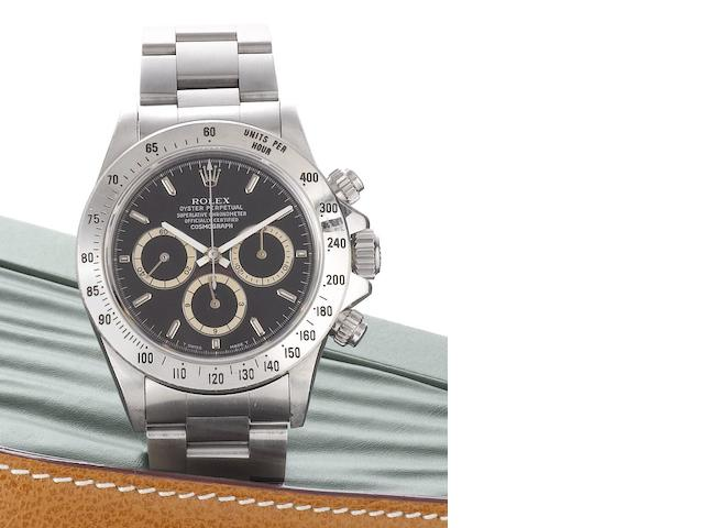 Rolex. A fine stainless steel automatic chronograph bracelet watch Daytona Cosmograph, Ref:16520, Case No.N439150, Sold February 2003
